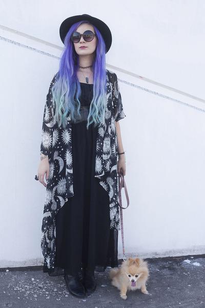black Steve Madden boots - black maxi dress thrifted dress