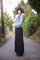denim jacket - black maxi dress - crochet scarf - vintage sandals