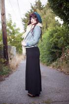 denim jacket - black maxi dress - crochet scarf - vintage sandals