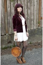 bronze bag - white Ruby Rox dress - brick red blazer