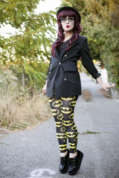 batman Lazy Oaf leggings - bowler H&amp;M hat - blazer - creepers TUK loafers