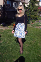 sky blue H&M skirt - black Cubus sunglasses