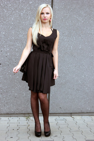 black romwe dress - black prima moda heels