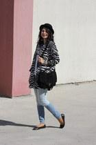 black cotton PERSUNMALL jacket - aquamarine denim Zara jeans