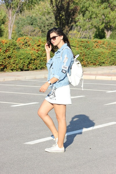 choiescom jacket - Accessorize bag - choiescom skirt - Converse wedges