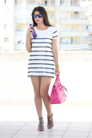 hot pink leather Hermes bag - white sequin Zara dress - navy Mango heels