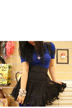 blue Forever 21 blouse - black Pop culture skirt - blue Steve Madden tights - si