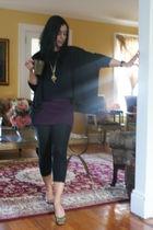 black Express blouse - purple Pop culture top - black Pop culture tights - gold