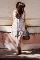 light blue Uttam Boutique dress - camel Parfois bag - camel Bershka wedges