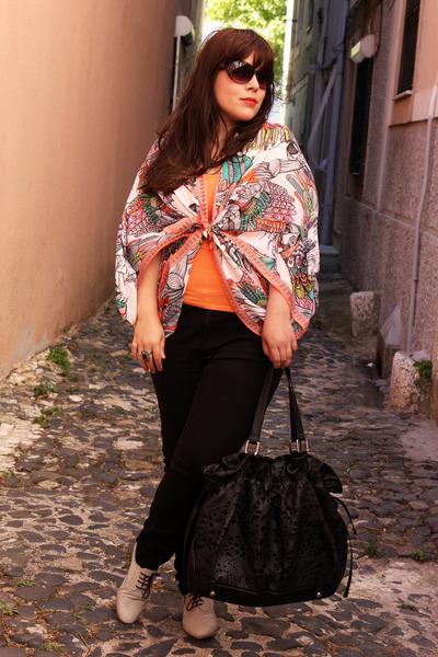 black lefties jeans - H&M scarf - black Parfois bag