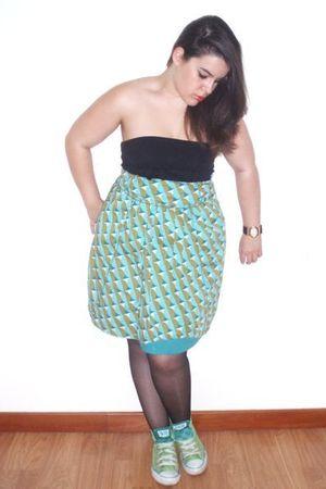 Skunkfunk skirt - black Bershka top - Converse All Star shoes - vintage accessor