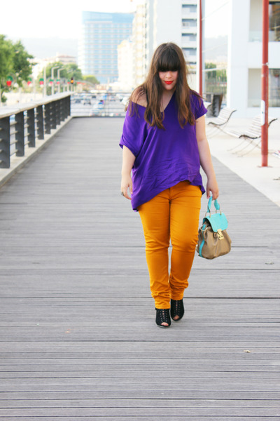 mustard lefties jeans - Parfois bag - purple lefties blouse - black Seaside heel