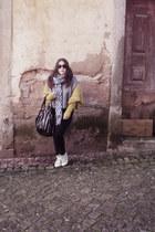black La Redoute leggings - blue Parfois scarf - black Parfois bag - chartreuse