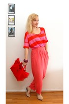 red Marimekko bag - hot pink thrifted pants - bubble gum hm t-shirt