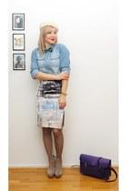 light blue Monki skirt - white HM Trend skirt - ivory hat