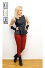 Black-leather-gloves-brick-red-zara-jeans-black-faux-leather-zara-top