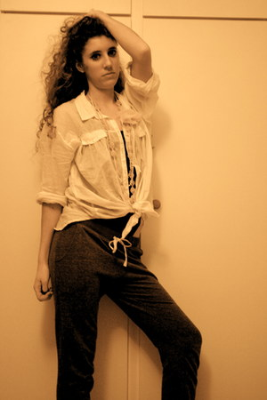 Topshop pants - H&M shirt - Miss Selfridge necklace - River Island boots