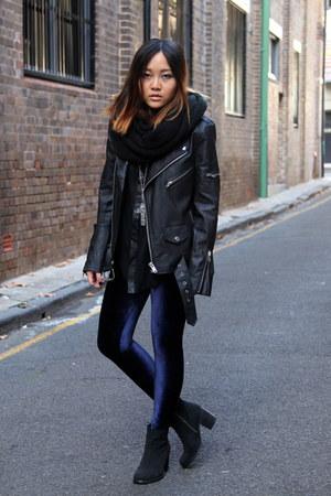 black leather jacket UNIF jacket