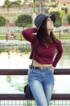 top - jeans - hat