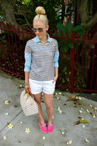 sperry shoes - Louis Vuitton bag - J Crew top