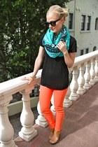 denim AG Jeans jeans - Theodora & Callum scarf - dvf wedges