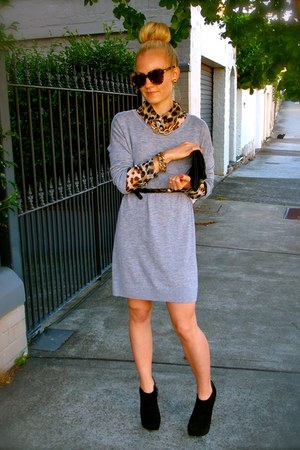 Barneys boots - vince dress - Karen Walker sunglasses - Equipment blouse