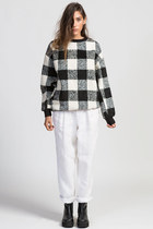 Oversized Checkered Knit Top