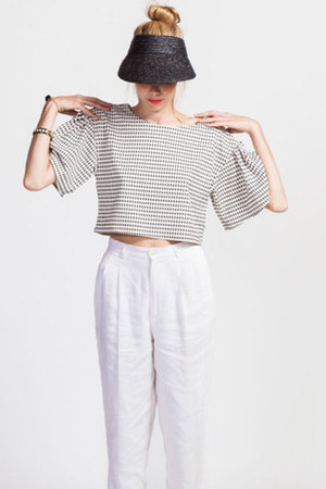 white ruffle Joa top