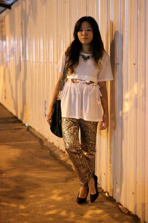white bow waist Ministry of Retail t-shirt - dark green pandora Givenchy bag