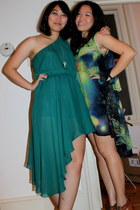 lime green galactic Cici dress - teal RARE dress