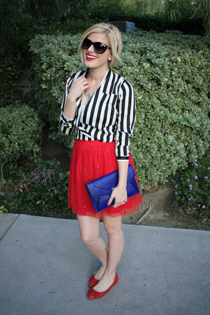 red tutu Wear In LA skirt - blue clutch daily look bag