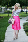 Hot-pink-pleated-daily-look-skirt-white-striped-wear-in-la-shirt