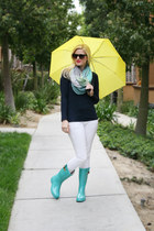 turquoise blue polka dots Chooka boots - white white denim Ralph Lauren jeans