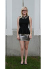 Black-peplum-pac-sun-shirt-bronze-pencil-skirt-forever-21-skirt