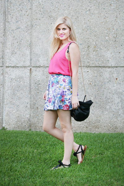 hot pink jeweled accessories - hot pink silk shirt - black bow sandals