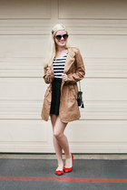 black quilted Wear In LA bag - camel trench coat Wear In LA coat