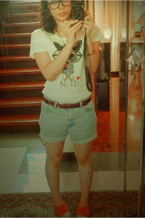 pink Puma socks - white Zara shirt - black glasses - silver shoes - blue calvin