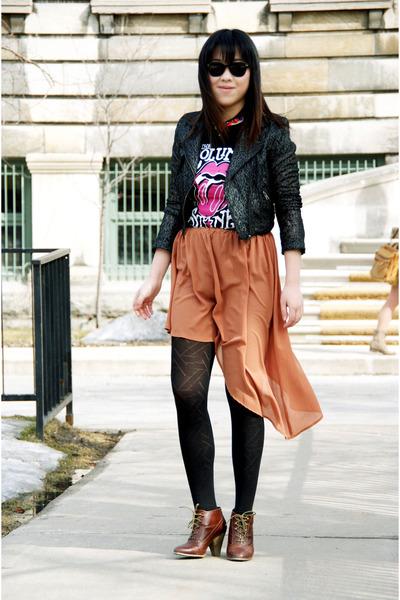 bronze Olivia skirt - black lace H&M jacket