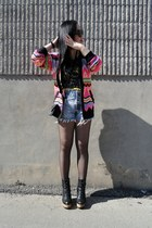 bubble gum H&M cardigan - black Urban Outfitters boots - black H&M tights