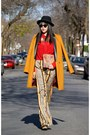 Gold-topshop-coat-red-urban-outfitters-shirt-camel-olivia-pants