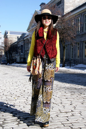 ruby red Urban Outfitters vest - yellow JCrew sweater