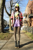 black Urban Outfitters boots - yellow American Apparel hat