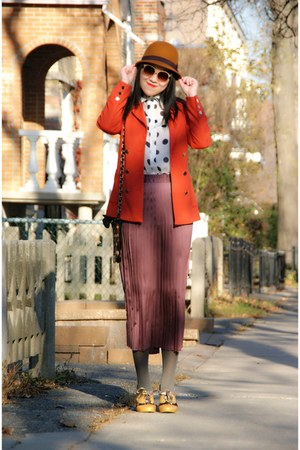 gold Irregular Choice shoes - gold H&M hat - carrot orange H&M blazer