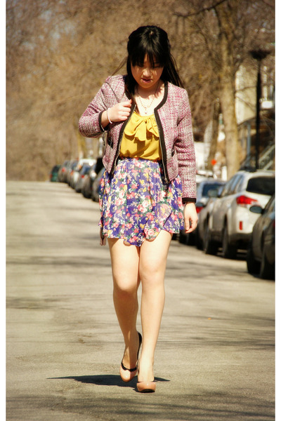 purple floral print Olivia skirt - bubble gum H&amp;M blazer - mustard Olivia top