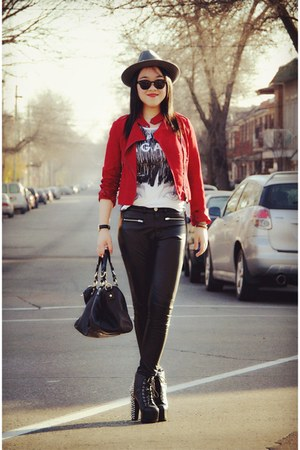 heather gray H&M hat - black Jeffery Campbell boots - red Forever 21 jacket