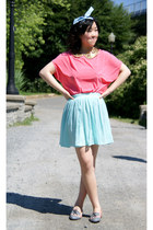 hot pink Urban Outfitters top - aquamarine Forever 21 shirt