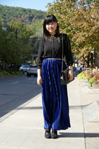 blue American Apparel skirt - black Forever 21 blouse