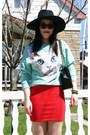 Aquamarine-h-m-jumper-black-h-m-hat-black-chanel-bag-red-forever21-skirt