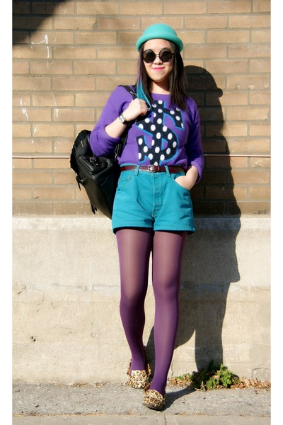 purple H&M sweater - turquoise blue H&M hat - amethyst Urban Outfitters tights