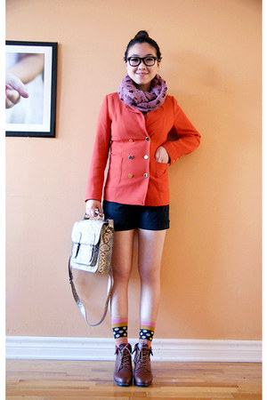 carrot orange H&amp;M blazer - brown Urban Outfitters shoes - pink Olivia scarf